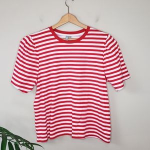 Asos | Red & White Striped Puff Shoulder Tee